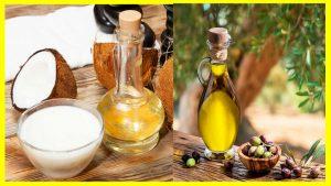 Diferencia de cocinar con aceite de coco o aceite de oliva Iniciemos afirmando que los dos tienen excelentes propiedades y son muy favorables para la salud