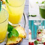 Bebidas Hidratantes con frutas y Hojas de Menta